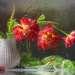 Тюльпаны за мокрым стеклом