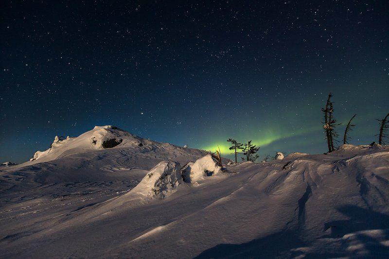 Про скоротечную поездку в северную Карелию, снег, Луну, Солнце, горы, ёлки, комету C/2012 F6 (Lemmon), Aurora borealis и Ski-doo Scandik 550F...photo preview