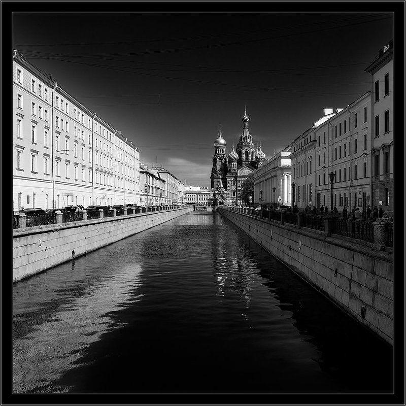 петербург, центр, канал грибоедова, чб, квадрат Простая черно-белая контрастная питерская классическая открыткаphoto preview