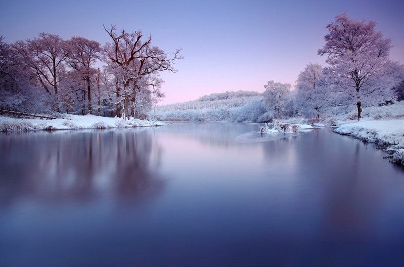 Colors, Ireland, Long exposure, River, Snow, Sunset, Trees, Winter Winter Timephoto preview