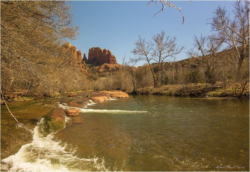 Arizona, Cathedral Rock, March, Nature, Rock, Sedona, Sky, Spring, Usa, Water Седона.Март.photo preview