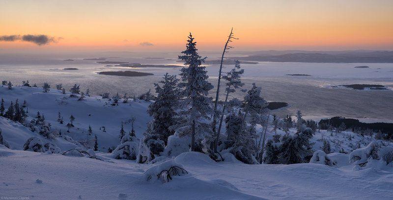 Frost, Kandalaksha, Kola Peninsula, Sunrise, White sea, Winter, Белое море, Волосяная, Заполярье, Зима, Кандалакша, Кандалакшский залив, Кольский, Мороз, Рассвет Морозный рассветphoto preview