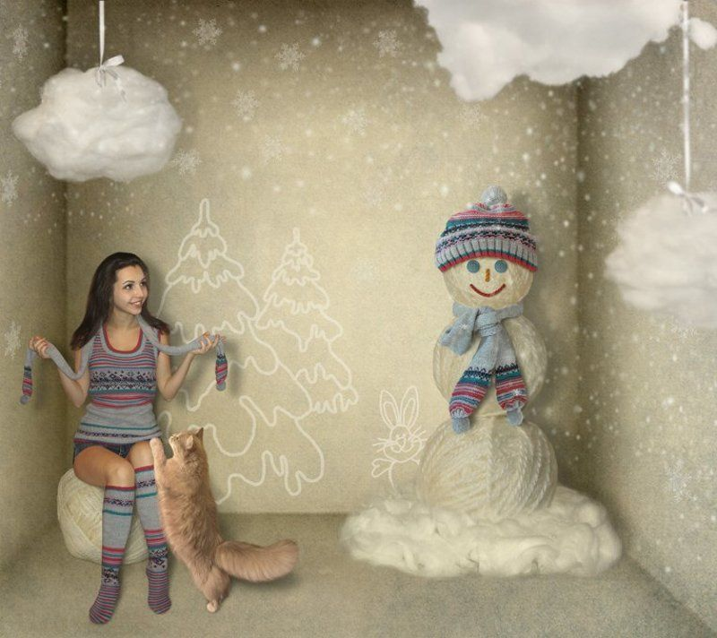 Вата, Зима, Пряжа, Снег, Снеговик, Юмор Про зиму...мягкую и пушистую...photo preview