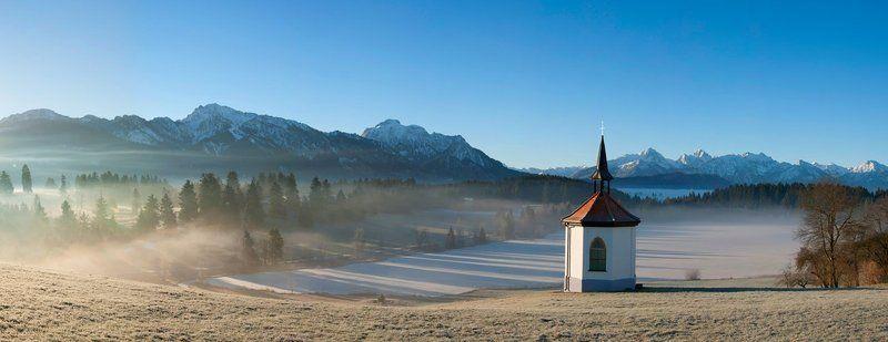 Альпы, Бавария, Германия, Горы, Зима, Озеро, Пейзаж, Путешествие, Рассвет, Утро, Церковь, Часовня In harmonyphoto preview
