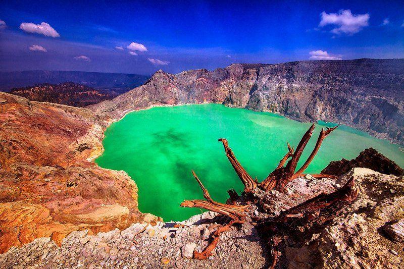 Бирюза, Вулкан, Иджен, Индонезия, Кратер, Озеро, Ява Кратер вулкана Идженphoto preview