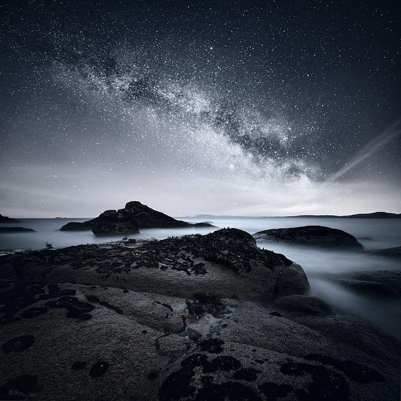 Atlantic Ocean, Co. Donegal, Ireland, Milky way, Night sky, Ocean, Rocks, Stars Co. Donegalphoto preview