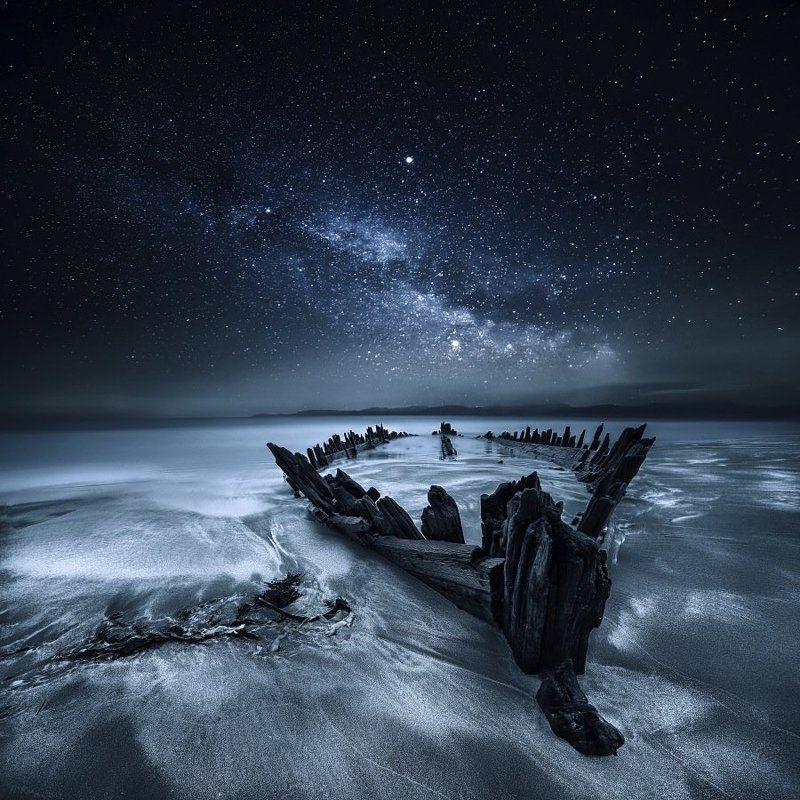 Astrophotography, Atlantic Ocean, Boat, Co Kerry, Ireland, Long exposure, Milky way, Ocean, Rossbeigh Strand, Sand, Seascape, Ship, Shipwreck, Stars, Toned Old Boatphoto preview