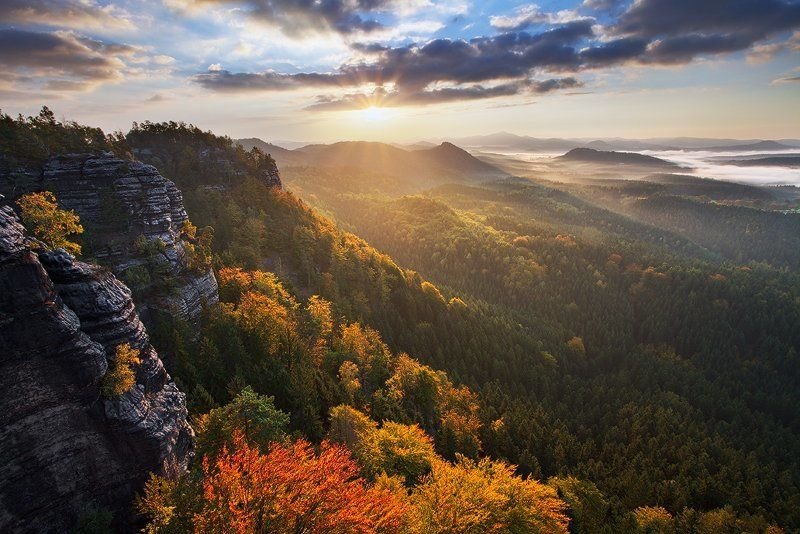 Bohemian switzerland, Clouds, Colors, Czech republic, Fog, Light, Mist, Morning, Mountains, Rocks, Sun, Sunrise Colorful Morningphoto preview