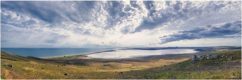день, крым, облака, озеро, панорама, солнце, степь, черное море photo preview