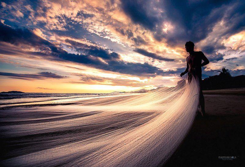 Вечер, Закат, Красота, Море, Пляж, Рыбак, Санья, Сети, Солнце, Хайнань закат на о. Хайнаньphoto preview