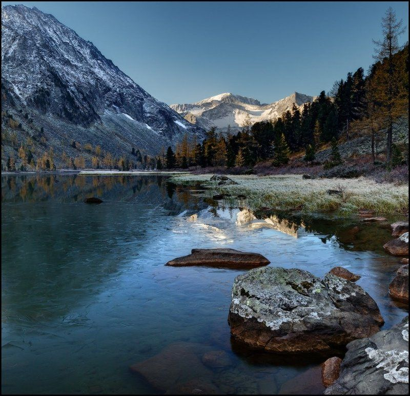Алтай, Горы, Крепкое, Лед, Озеро, Осень, Утро Утро на Крепких озерахphoto preview