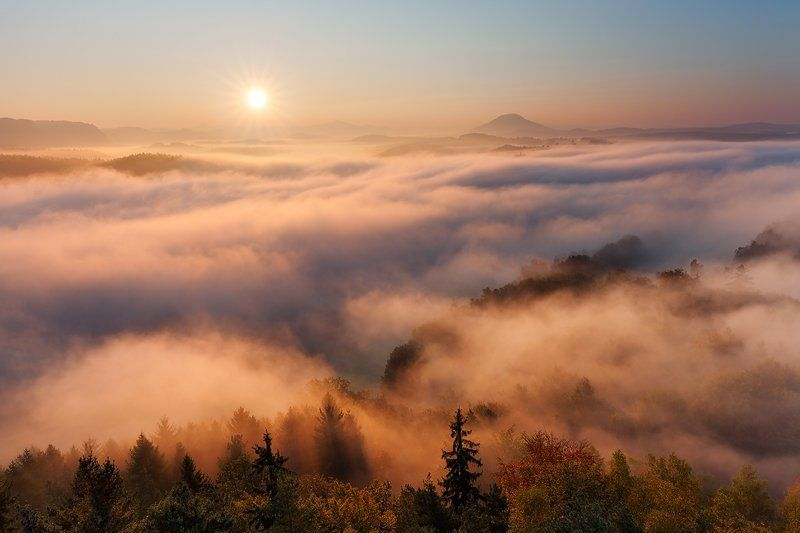Autumn, Bohemian switzerland, Elbsandsteingebirge, Fall, Fog, Hills, Light, Mist, Saxon switzerland, Sunrise Above the Sea of Fogphoto preview