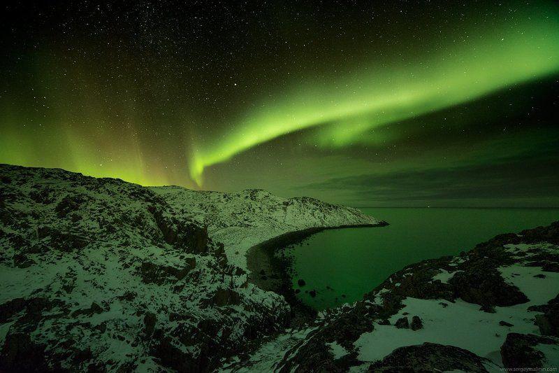 Aurora borealis, Barents Sea, Milky Way, Night, Seaside, Заполярье, Море, Ночь, Северное сияние, Териберка Ночь в небесной гаваниphoto preview
