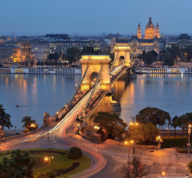 Будапешт, Венгрия, Вечер, Европа, Цепной мост ***photo preview