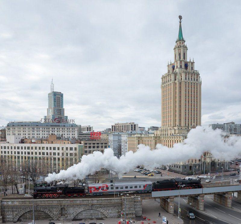 паровоз, поезд, рельсы, ретропоезд, ржд Моя Москваphoto preview