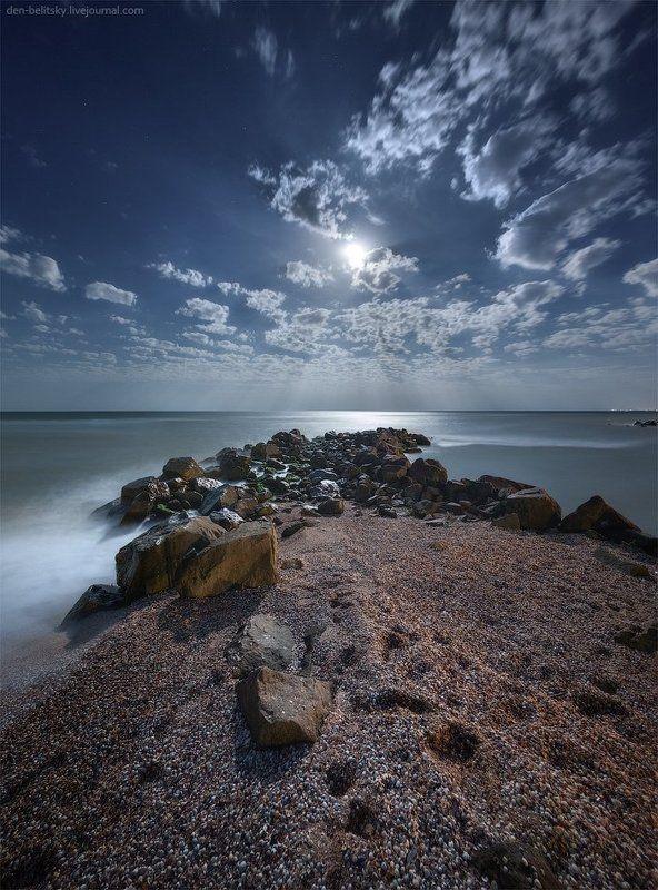 Луна, Море, Ночное небо, Облака, Пейзаж, Полнолуние, Украина Полная луна в Новопетровкеphoto preview