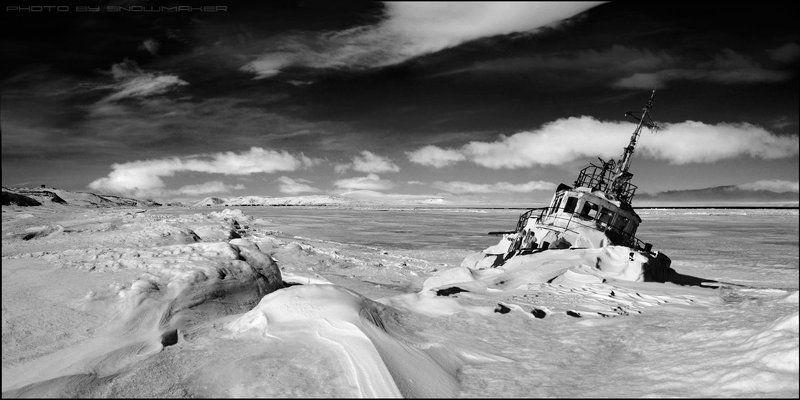 фото, чукотка, снег, photo, chukotka, snowmaker, облака, буксир, ship, Последний фарватерphoto preview
