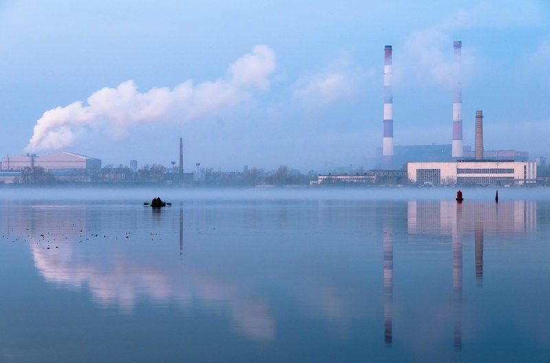 Blue, Factory, Morning, Reflection, River Fishing. Kievphoto preview
