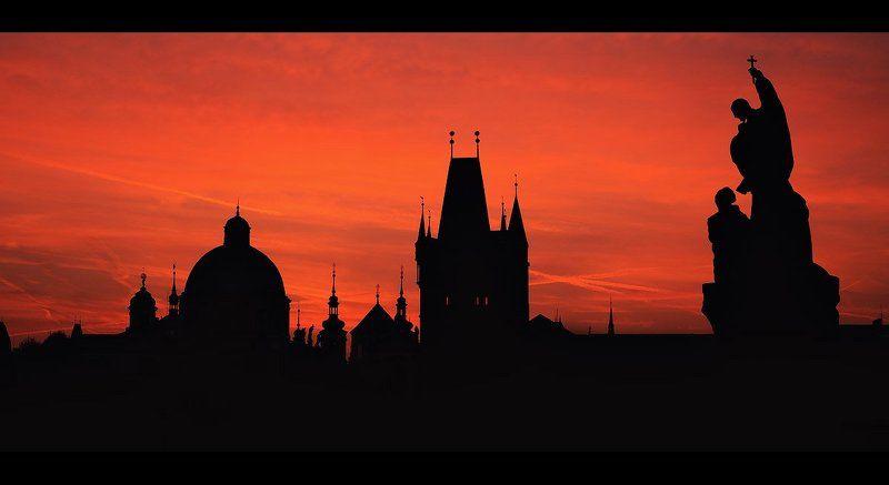 Прага, Путешествия, Рассвет, Силуэт, Чехия Силуэты Прагиphoto preview