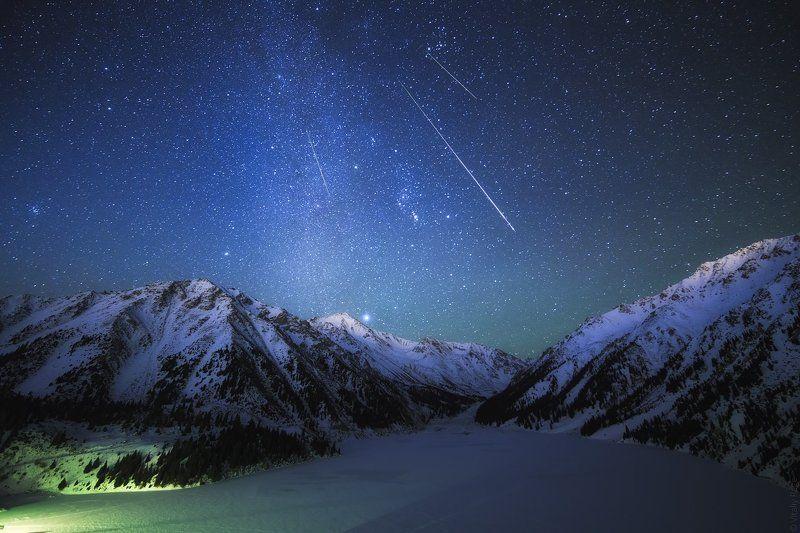 казахстан Зимняя ночь в горахphoto preview