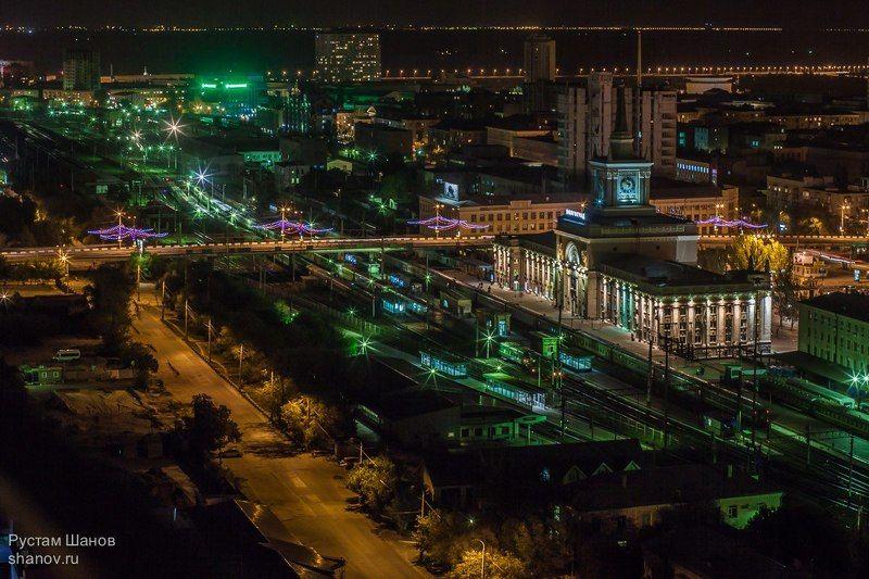 Ночной, город, Волгоград, Вокзал, Рустам, Шанов, фото, фотограф Ночь, улица, фонарь, ж/д Вокзал, Волгоград. photo preview