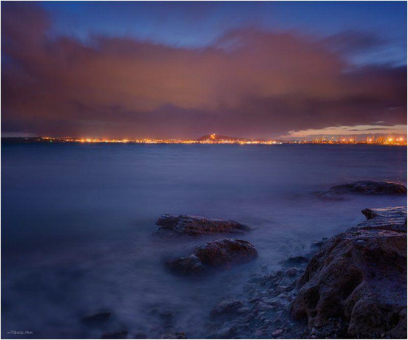 Вечер, Город, Длинная выдержка, Камни, Керчь, Крым, Море, Морской пейзаж, Облака, Панорама, Черное море photo preview