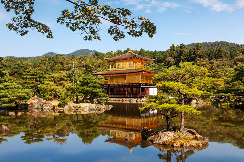 Япония, Киото, Азия, пруд, отражение, природа Золотой павильонphoto preview