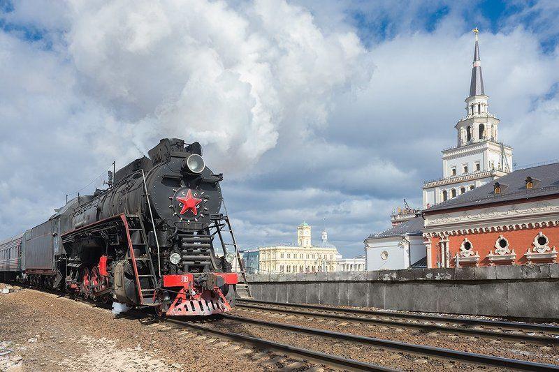 Вокзал, Железная дорога, Москва, Паровоз, Поезд, Рельсы, Ретропоезд, Ржд, Россия Москва вокзальнаяphoto preview