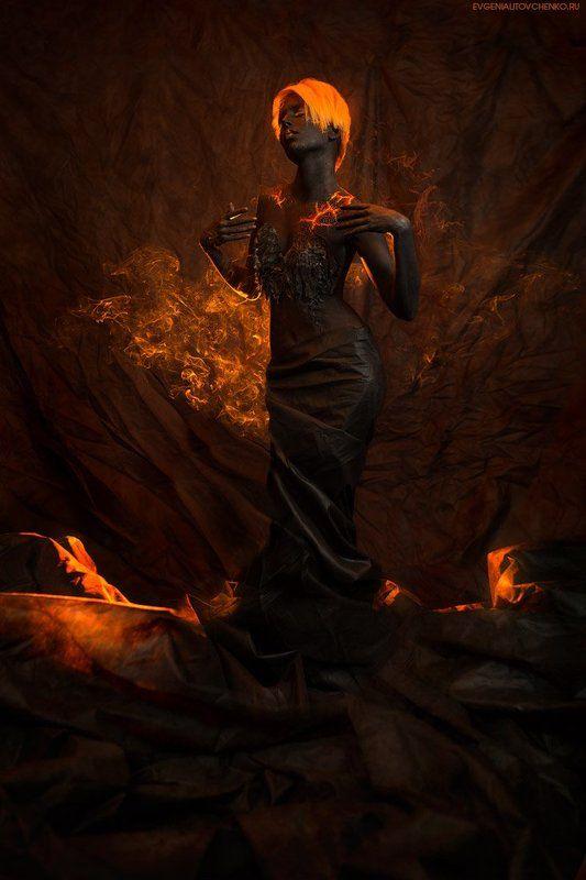 бодиарт, девушка, вулкан, лава, магма, черный, дым, рыжая Мифы о богине Пелеphoto preview