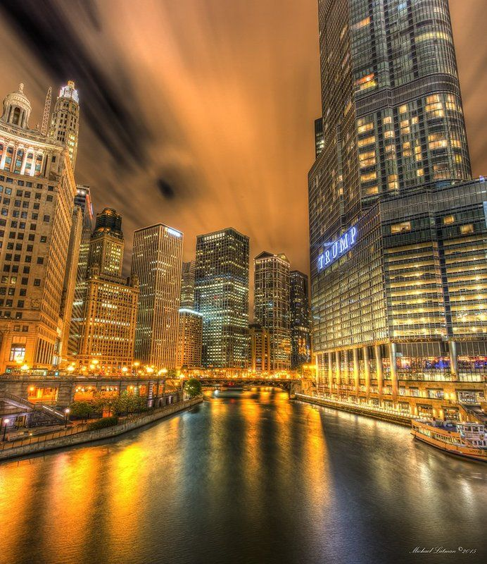 Chicago, city, night, music, wind, lights, river, nocturne Night nocturne in a windy cityphoto preview