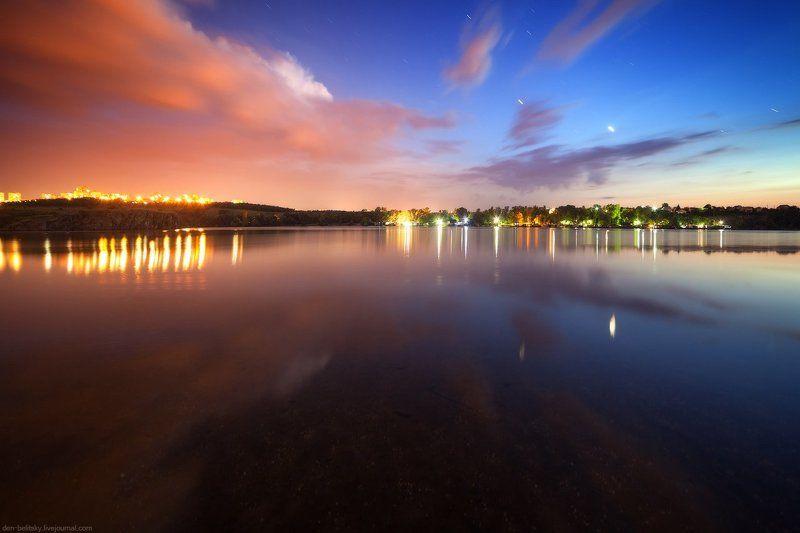 пейзаж, ночь, река, озеро, звёзды, небо, отражение, облака, закат, сумерки,  Украина, Запорожье, Хортица Астрономические сумерки в Запорожье (Украина)photo preview
