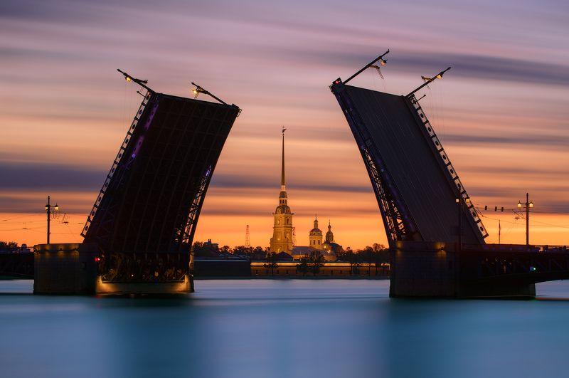 белые ночи, дворцовый мост, длинная выдержка, петпропавловка, рассвет, санкт петербург Словно руки, вскинутые в небо,  над Невой разводятся мосты.photo preview