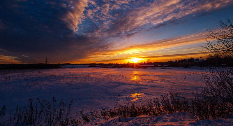 закат, зима, 2015, снега, в деревне Февральский закатphoto preview