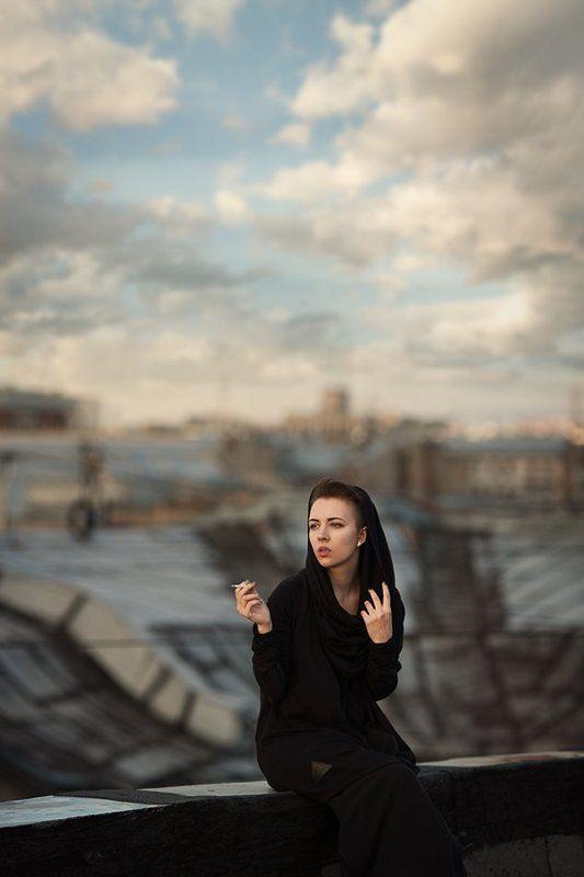 фото, девушка, крыша, небо, портрет, photo, girl, portrait, roof, sky, canon Татьянаphoto preview