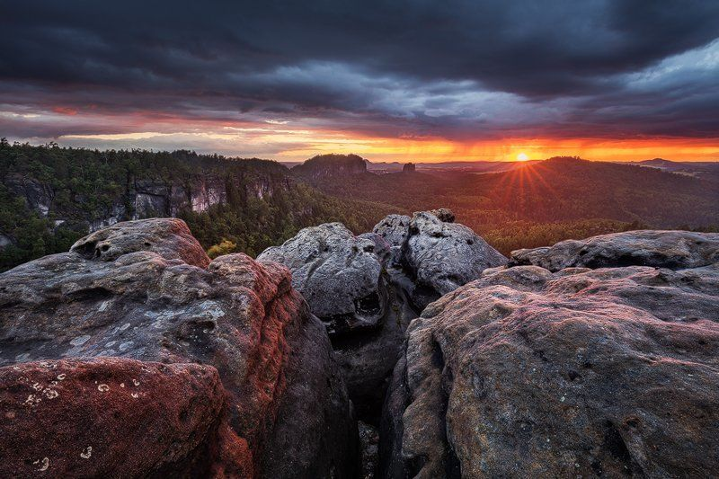 Clouds, Evening, Landscape, Light, Rocks, Saxon switzerland, Summer, Sunset Fire & Rainphoto preview