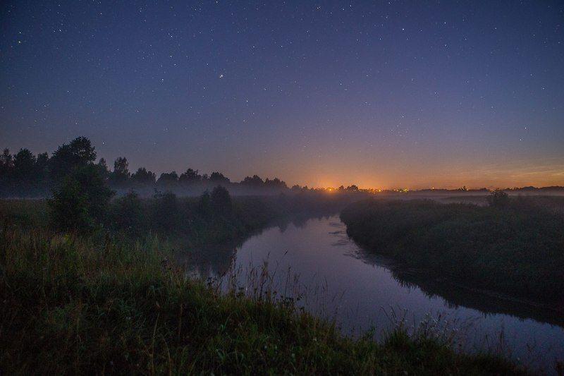 звезды, река, ночь, Звезды над родным поселкомphoto preview
