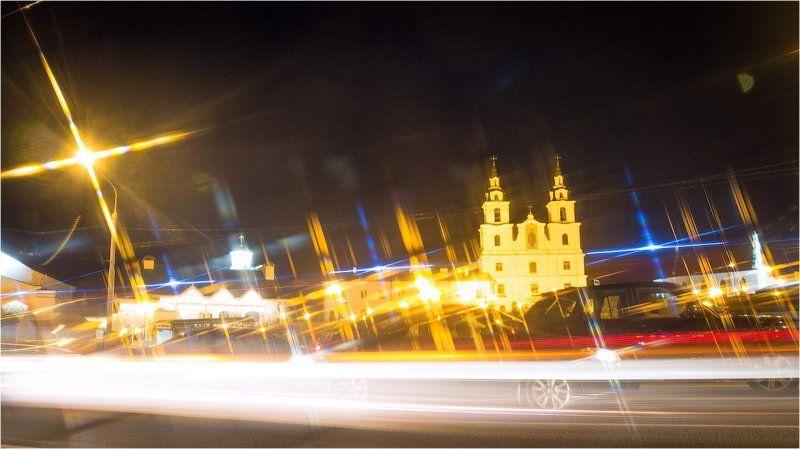 минск, лучи, вечер, лето, город, авто, собор, пощадь, ратуша, немига, беларусь,  в лучах photo preview