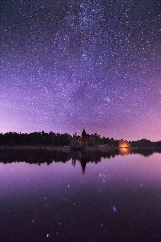 Вуокса, Звезды, Ленинградская область, Ночь, Церковь Звездная ночьphoto preview