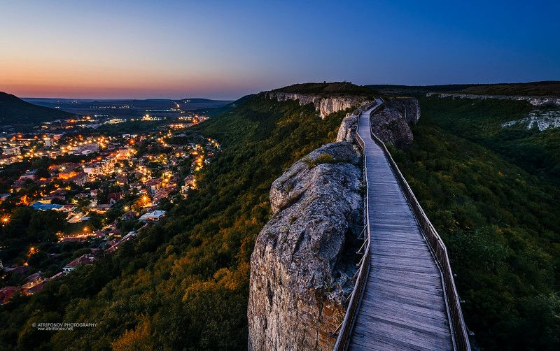 bridge, old, landscape, sunset, fortress, bizantine, history, lights, town, Provadia, Bulgaria, forest, summer, evening, sky, blue, rocks Fortress Ovechphoto preview