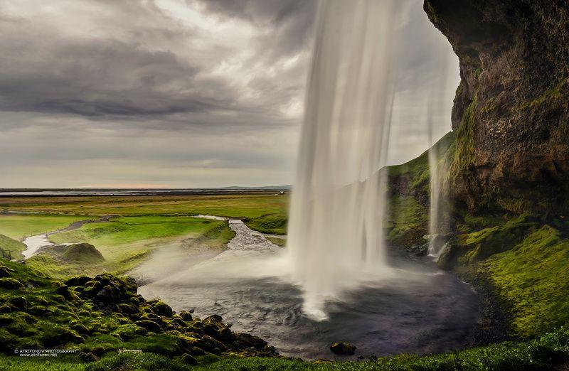 Seljalandsfoss, Iceland, waterfall, landscape, summer, midnight sun, sky, clouds, water, green, nature, behind, storm, Seljalandsfossphoto preview
