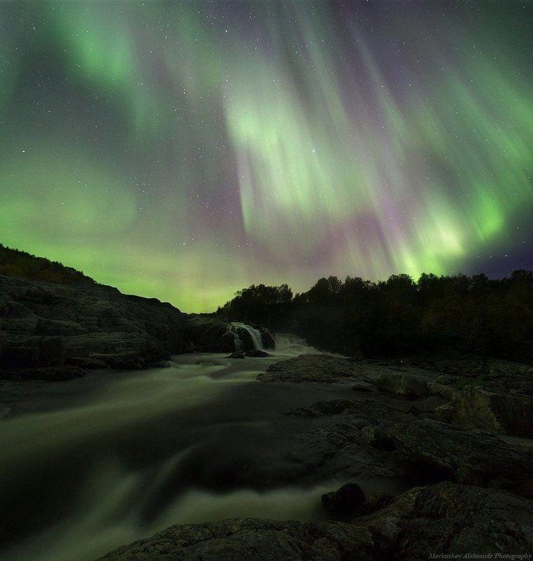 Вода, Заполярье, Звезды, Звёзды, Ночь, Осень, Природа, Север, Северное сияние, Сентябрь Заполярная Осеньphoto preview