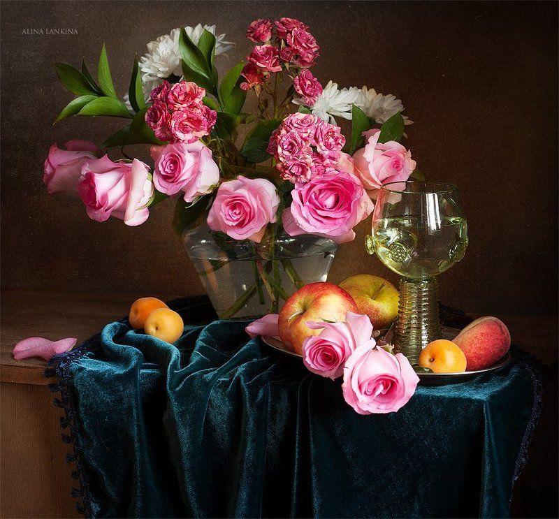 натюромрт, розы, цветы, букет, бокал, ремер, фрукты, яблоки С розамиphoto preview