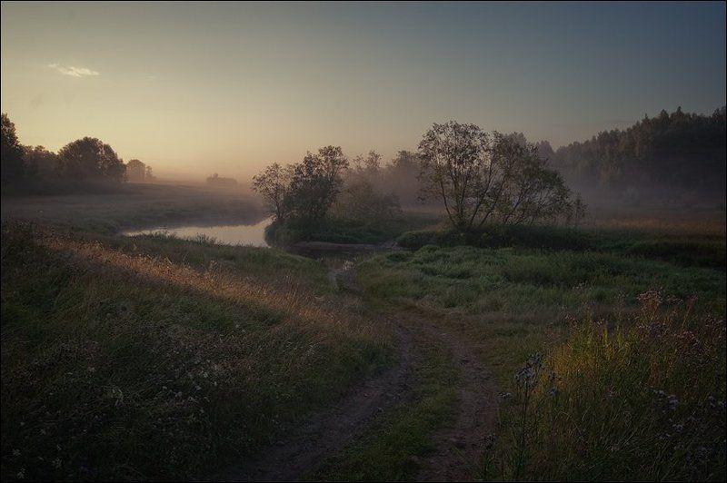 Цветная утренняя летняя картинка с видом сверху на речку за Кузнецово в первых лучах солнцаphoto preview