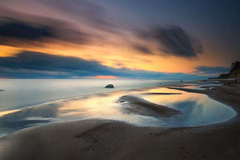 Baltic sea, Clouds, Evening, Landscape, Long exposure, Sea Морские линииphoto preview