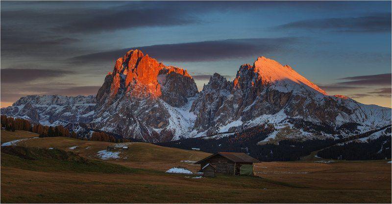 италия, доломиты, альпы, осень, italy, dolomites Alpine sunset.photo preview