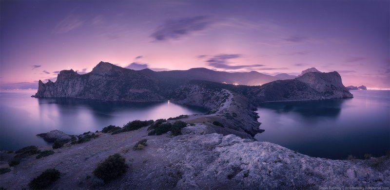 Пейзаж, горы, море, закат, ночь, сумерки, небо, скалы, вода, Новый Свет, Крым, облака, панорама Летние сумерки в Новом Светеphoto preview