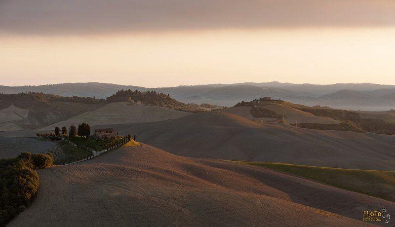 фототур, тоскана, рассвет, холмы, туман Тоска-наphoto preview