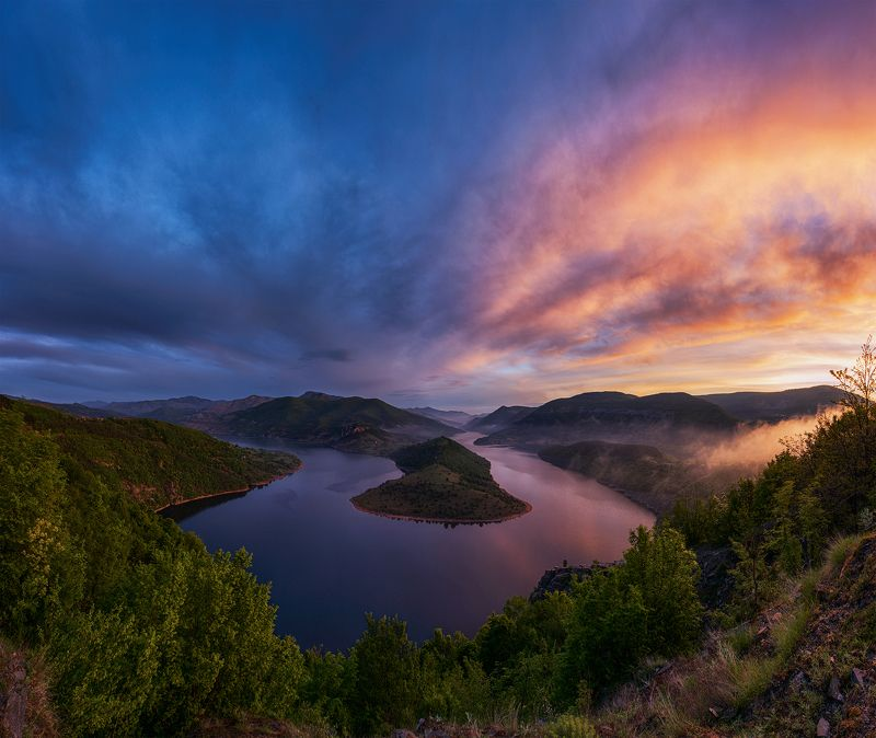 landscape, nature, meander, sky, bulgaria, summer, river, sunrise Rhodope Meander: face 1photo preview