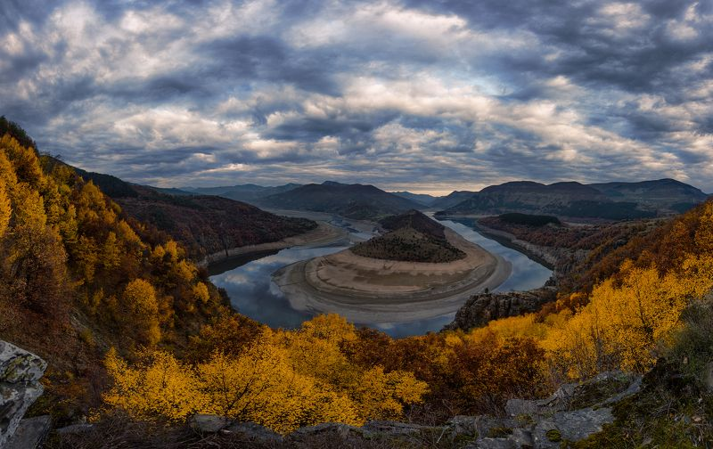 landscape, nature, meander, sky, bulgaria, autumn, river, sunrise Rhodope Meander: face 3photo preview