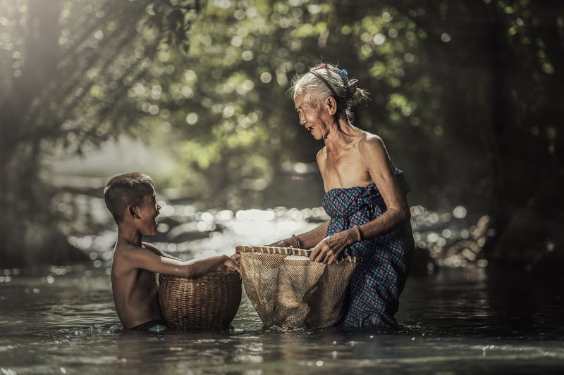 meal; fun; white; sweet; expression; granny; happiness; kids; summer; old; people; grandchildren; caucasian; female; smiling; cute; eat; elderly; aging; cherry; lifestyle; healthy; girl; care; holding; retirement; garden; woman; pensioner; great; senior;  Grandmother with grandchildrenphoto preview